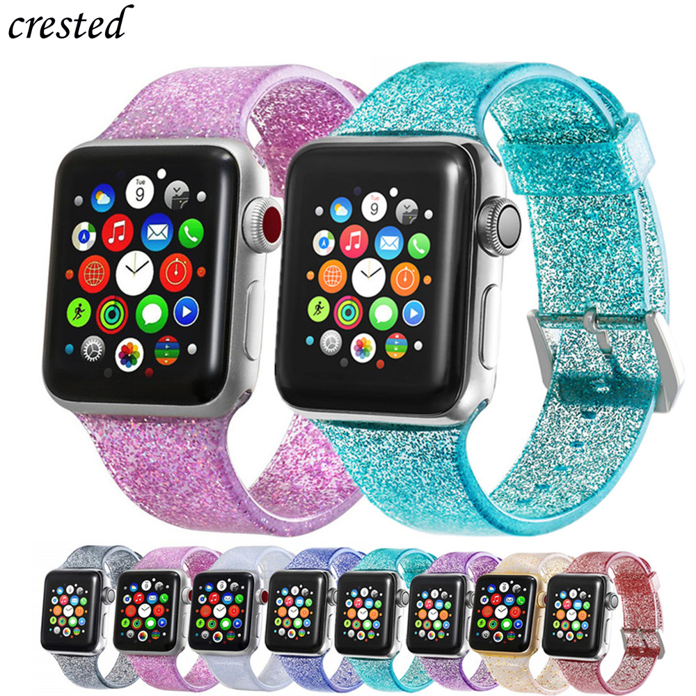 Bling Strap For Apple Watch 5 Band 40mm 44mm IWatch Band 38mm 44mm Jelly Silicone Watchband Bracelet Apple Watch 4 3 2 1 38 40