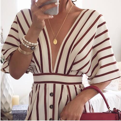HOT 2018 Femmes de Vacances Bohème Plage Rayé Bouton Robe Sexy Profonde V Cou Lâche Robes D'été Femmes Vintage Casual robe