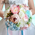 Colorful Beach Bridal Flower 2016 Buque Casamento Silk Rose Artificial Wedding Bouquet Ribbon For Bridesmaids Elegant