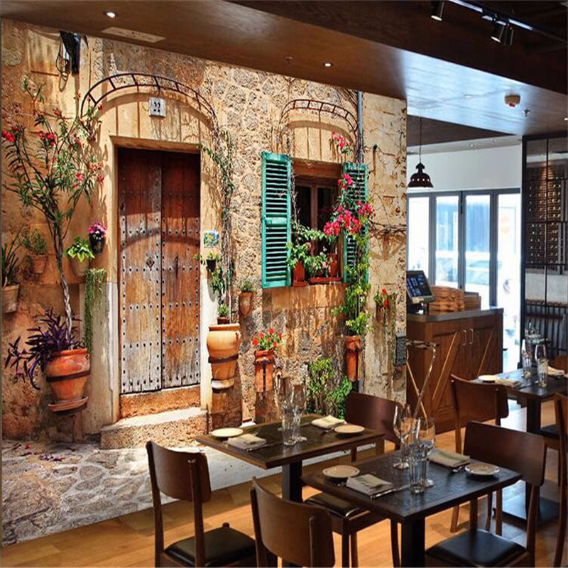 Mural Cafe Wallpaper-3d Photo-Wall Custom Streets Luxury European Old-House Large HD