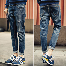 To patch holes in winter men's youth men with elastic velvet Lee Jeans BOYS PANTS
