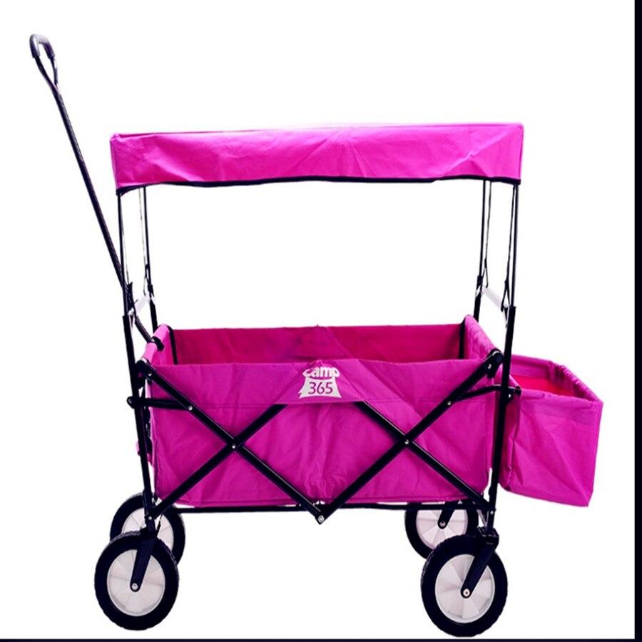 Twin trois quatre bébé poussette quatre roues panier bagages voiture en plein air camping pilote tirer le levier remorque landau pliant