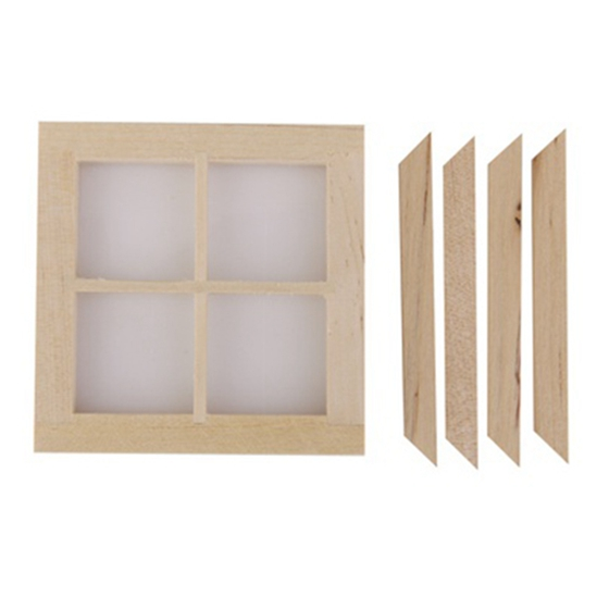 Dollhouse Miniature Wooden 4 Pane Window DIY Accessory