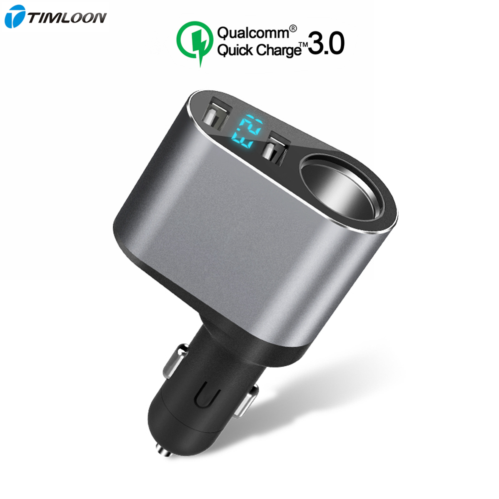 QC3.0 Quick Charge Car Charger,5V 2.4A Fast USB Car Charger Dual Car Charger with Voltmeter Display,Cigarette Lighter Charger