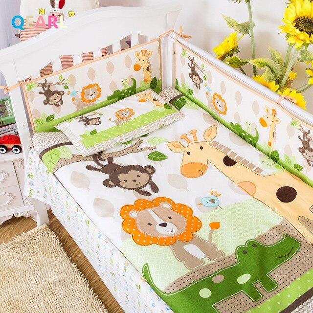 7 Pcs Coton Bebe Literie Ensemble 3d Girafe Singe Animaux De La