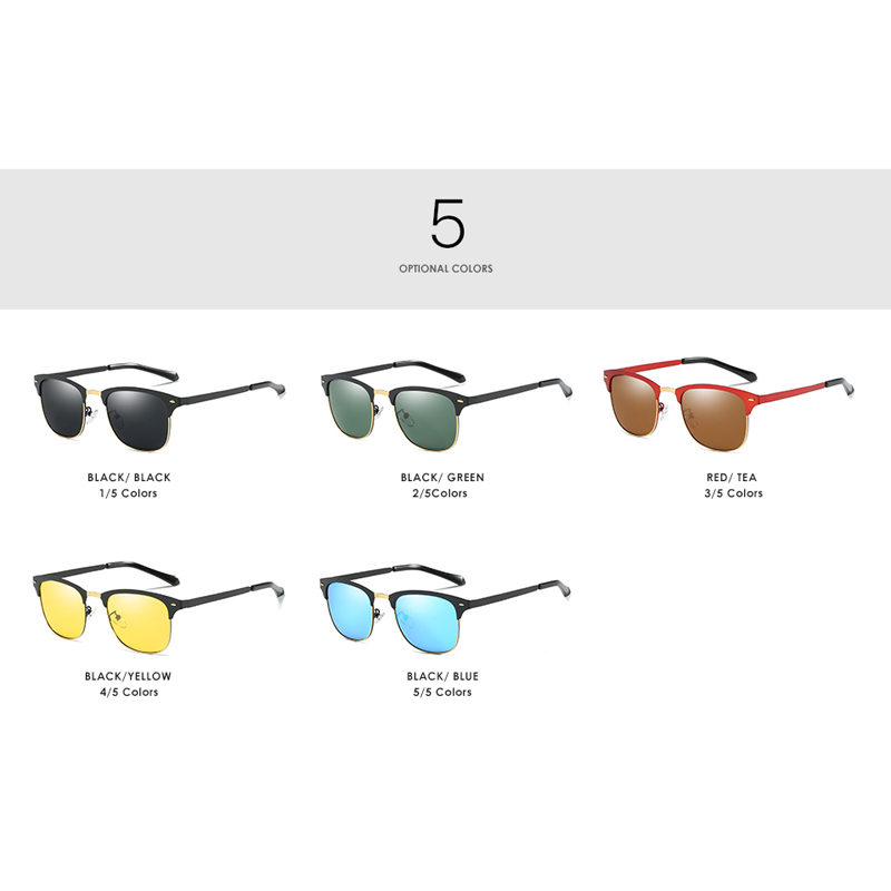 Pro Acme Brand Polarized Night Vision Sunglasses Men Classic Half Metal Square Sun Glasses Driving Travel Eyewear Gafas PA0975
