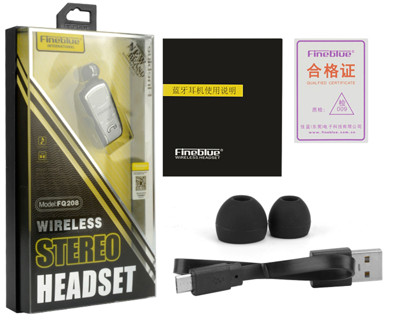 Original FineBlue FQ208 Clip-on Bluetooth Headset Anti-lost Retractable Wireless Earphone Clip Handsfree Headphone With Micr (11)