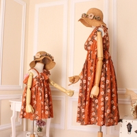 Family Matching Dresses Mother Daughter Beach Summer Dress Clothing Flowers Bohemia Style Casual Clothes For Female