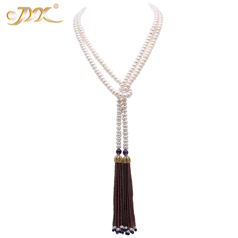 JYX Classic tassels necklace 7 8mm Flatly Round natural White Cultured Freshwater Pearl Tassel Long Sweater