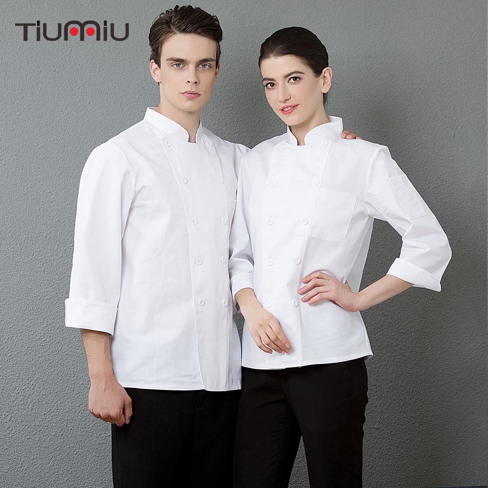Chef Uniforms Work White Jackets Restaurant Kitchen Cuisine Cocina Catering Food Service Hotel Waiter Coat Uniforms Men Women