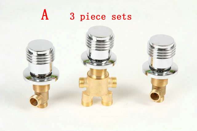 3 Piece suit brass water separator bathtub valves faucet, 3 Types cold and hot water switch, 2/4 ways shower room mixing valve 3 tap connect 3 4 5 gear screw thread thermostatic faucet valve shower room mixing valve cold and hot water switch separator