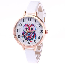 Women Cute Lovely Owl Pattern Quartz Wrist Watch Casual PU Leather Strap Watches Gifts LXH