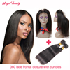 Pre Plucked 7A Brazilian Straight Hair With Closure 360 Lace Band Frontal With Bundle 360 lace Virgin Human Hair With Bady Hair