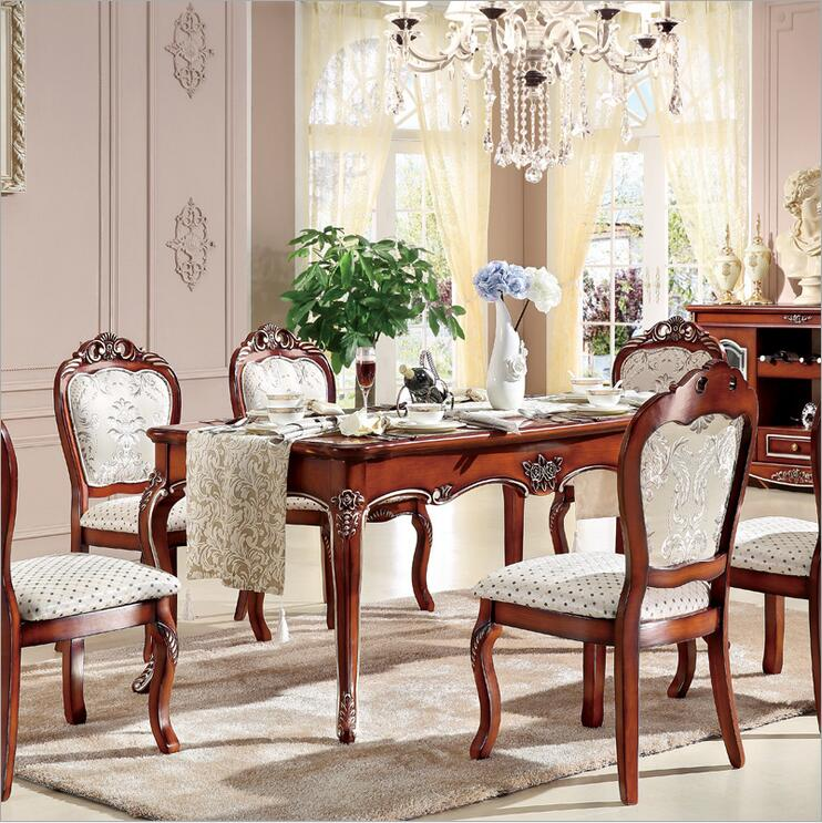 Us 860 0 Antique Style Italian Dining Table 100 Solid Wood Italy Luxury Set Six Chairs P10241 In Room Sets From