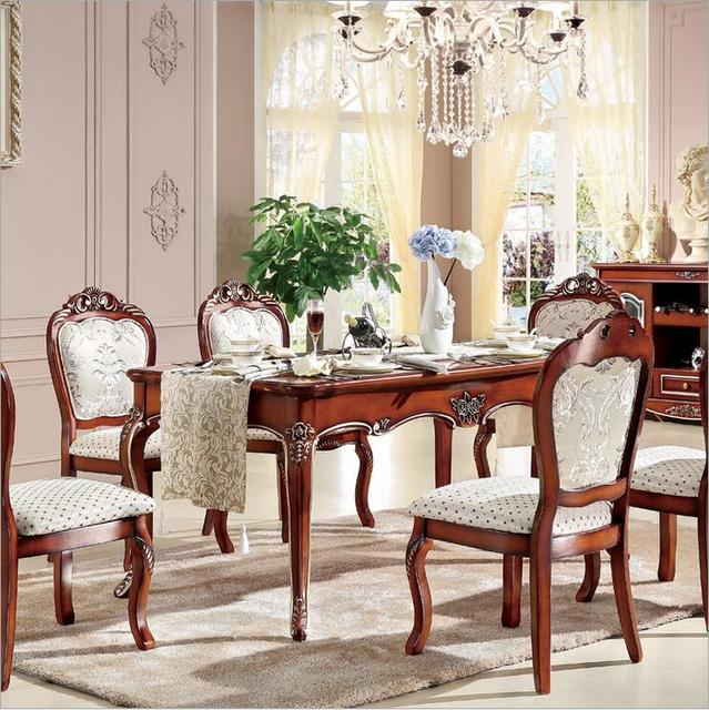 Antique Style Italian Dining Table 100 Solid Wood Italy Luxury Set Six Chairs P10241