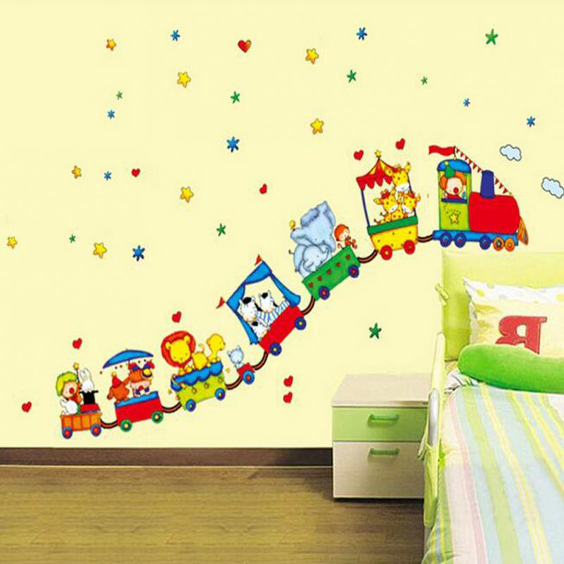 Hot Animal Circus Train Design Vinyl Wall Stickers For Kids Rooms Home Decor DIY Child Wallpaper Art Decals Decoration Accessory In From