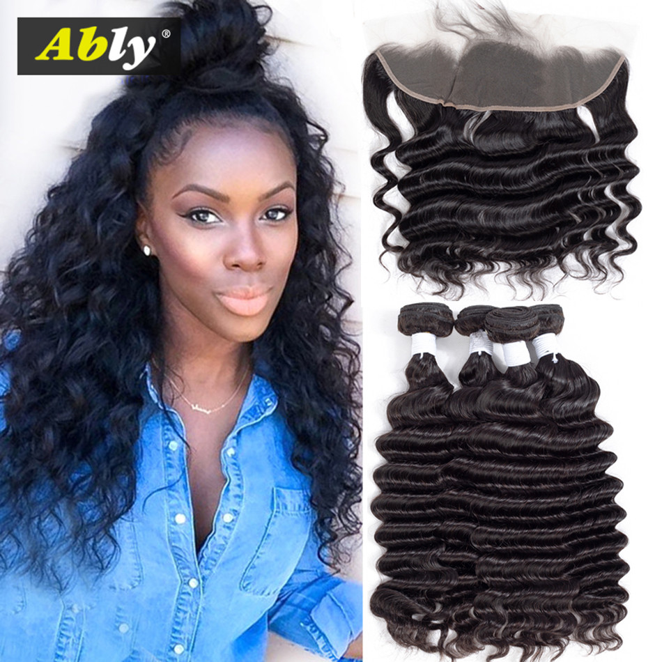 Loose Deep Wave Bundles Med Frontal Ably 100% Brazilian Remy Wet And - Mänskligt hår (svart)