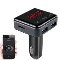 Новый Handsfree BC12B Беспроводная Связь Bluetooth Автомобильный Комплект FM Передатчик Радио Поддержка У Диска Mp3-плеер Телефон APP Управления Автомоби...