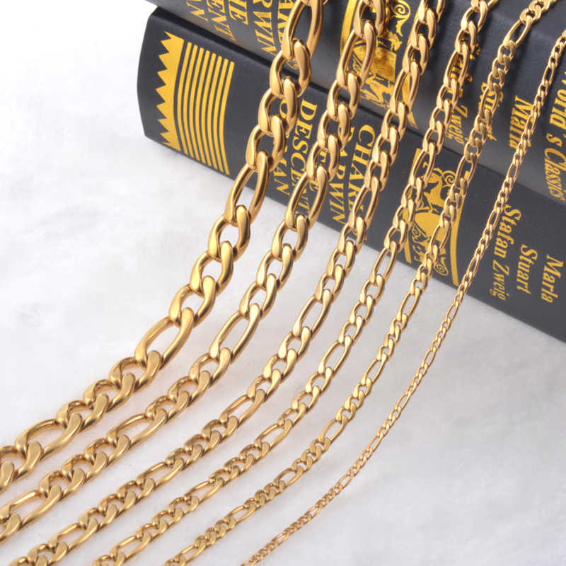 4.5mm(Width) Stainless Steel Necklace Men Gold Color Stainless Steel Chain Necklace 3:1 Link Chain Men Jewelry