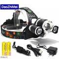 10000 Lumens Headlight XM-L 3T6LED Head Light 4 Modes Zoom Adjust Focus Headlamp Lantern Hunting Head Flashlight Wich Battery