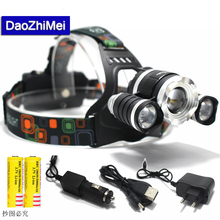 10000 Lumens Headlight XM-L 3T6LED Head Light 4 Modes Zoom Adjust Focus Headlamp Lantern Hunting Head Flashlight Wich Battery