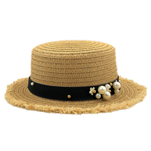 NEW-Lovely Flat Top Straw Hat Summer Spring WomenS Trip Caps Leisure Pearl Beach Sun Hats Breathable Fashion Flower Girl