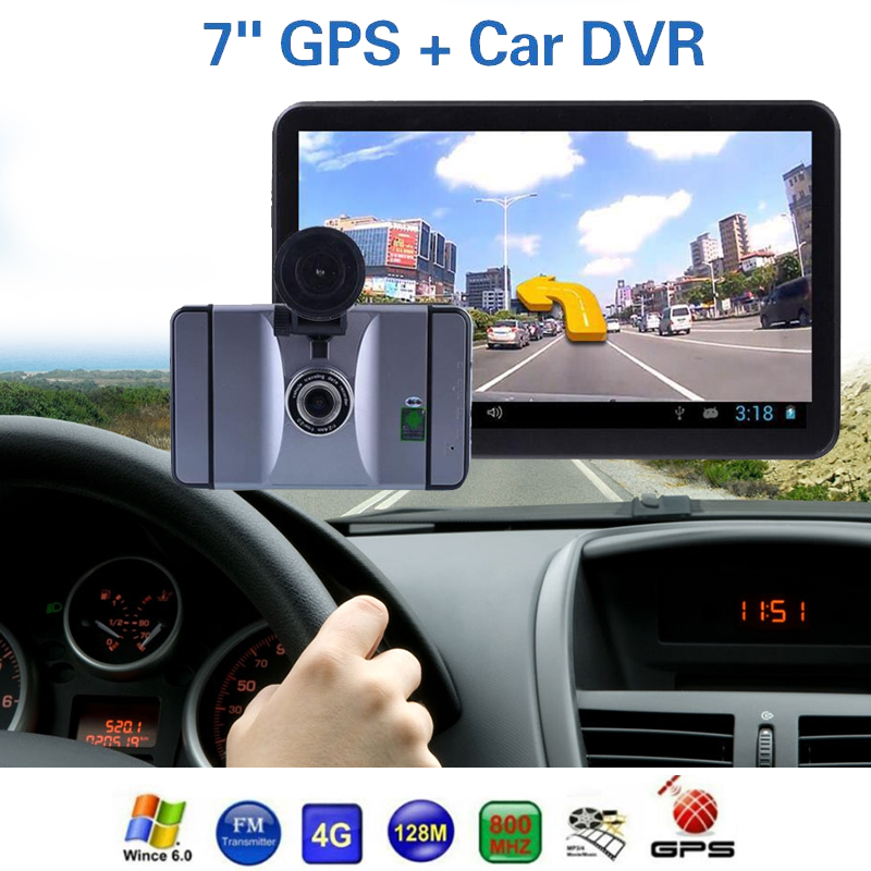 Vehemo 7 inch Truck Car GPS Navigation Navigator Android 8GB Wifi Multi-media Player with 1080P Car DVR Camera Dash Cam Recorder hot 7 inch android 4 0 quad core car gps navigation with dvr recorder 1080p 8g media player fm transmitter support wifi igo map