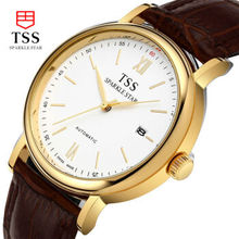 Tss Watches automatic belt casual male table quartz watch waterproof watch men s table simple brown