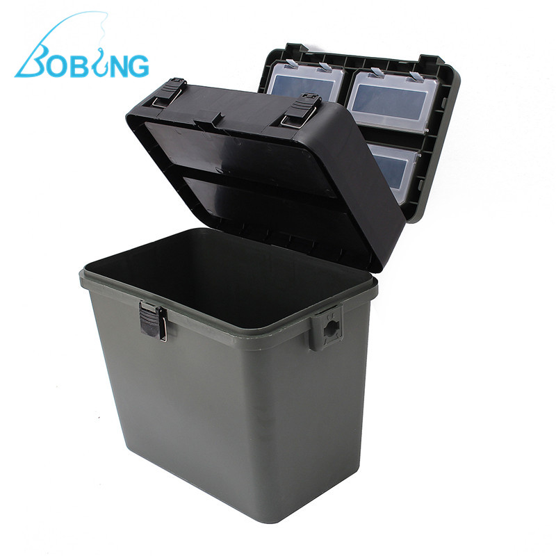 Bobing 380x230x390mm Fishing Tackle Box With Strap Large Capacity Fishing Lures Takcle Tool Accessories Storage Case Seat Box