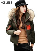 HCBLESS Winter Jacket Women Big Fur Collar Womens Coats Short Down Parka Lady Hoodies Parkas Warmer Classical Jackets