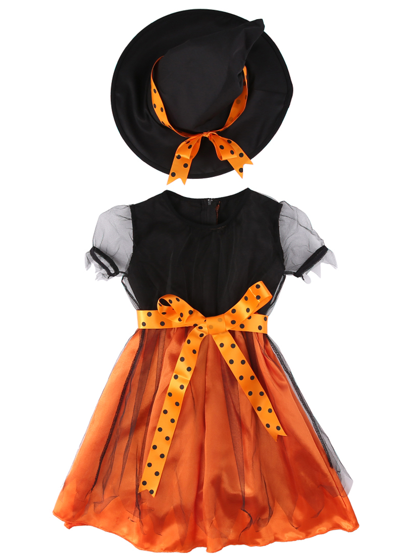 New Kids Girls Baby Halloween Outfit Set Witch Short Sleeve Toddler Fancy Dress Hat Costume