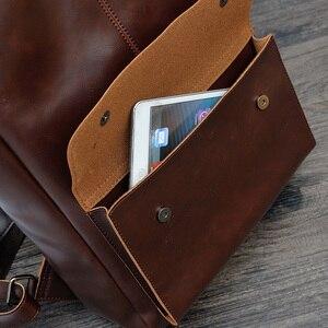 Image 4 - Новый Винтажный Мужской рюкзак на застежке в английском стиле, модные кожаные Ретро Рюкзаки Crazy Horse, мужская сумка, мужская сумка