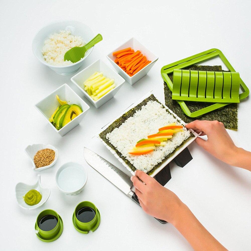 1 Set Sushi Making Kit DIY Easy Sushi Maker Machine Set Rice Roller Mold Roller Cutter Kitchen Accessories