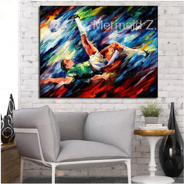 Artist Hand Painted Football Oil Painting On Canvas Handmade Abstract  Painting For Office Decoration Living
