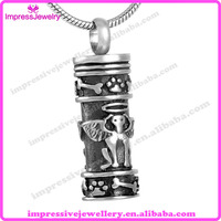 IJD8186 Keepsake Jewelry Dog Guardian Angel Cylinder Pet Cremation Urn Necklace 316L Stainless Steel