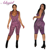 Adogirl Sexy Printed Deep V Neck Bodycon Playsuits Summer Woman 2019 Sleeveles Printing Night Party Shorts Jupmsuits rompers