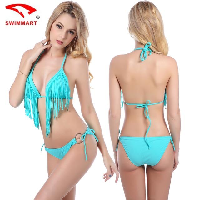 61126c76b51e € 14.95 |SWIMMART Mujeres Bikinis trajes de Baño Sexy Bikini Conjunto  Flecos Tassel Push arriba Más Tamaño Ropa de Baño Ropa de Playa Negro de ...