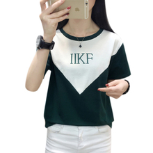 цена на Patchwork Letter Women 2019 Summer T Shirts Femme Short sleeve Fashion Cool Tee Tops Ladies Khaki Round Neck New Tshirts Green