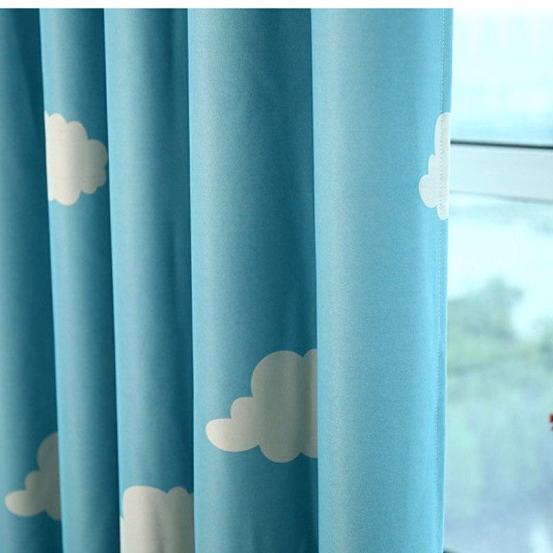 Bleu Rideau nuage enfants nursery lit Rideau Ombre Tissu transparent ...