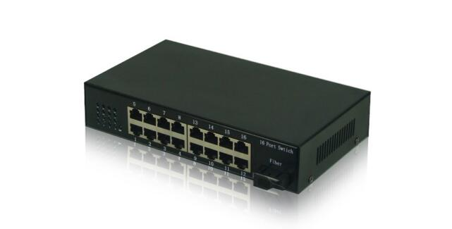 16-Port reverse poe ethernet switch with 1 sc fiber port