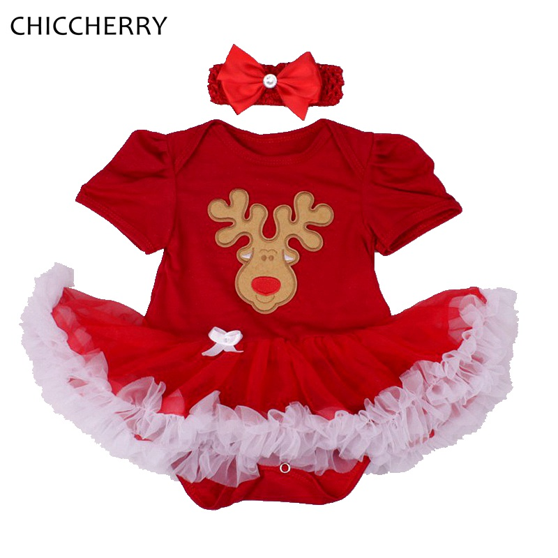In Infant Baby Girls Dress Sets Red Pink Bodysuit Headband 2 Pieces Suits Bebes Infantil Girl Outfits Christmas Clothes 0-2y Novel Design;