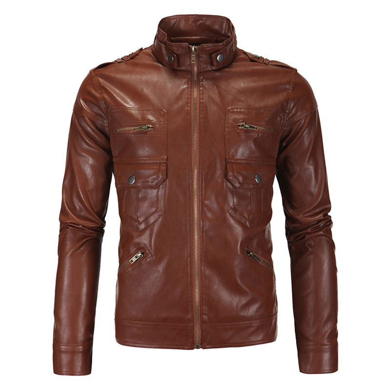 AOWOFS Mens Leather Jacket Brown Black Vintage Motorcycle Jacket ...