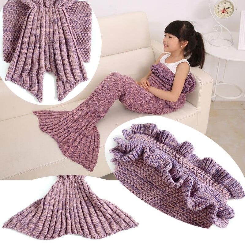 Children Kids Knitting Mermaid Tail Blanket Crochet Sirene Blanket Sofa Bed Warm Knitted Throw for Winter Spring Autumn 140x70cm
