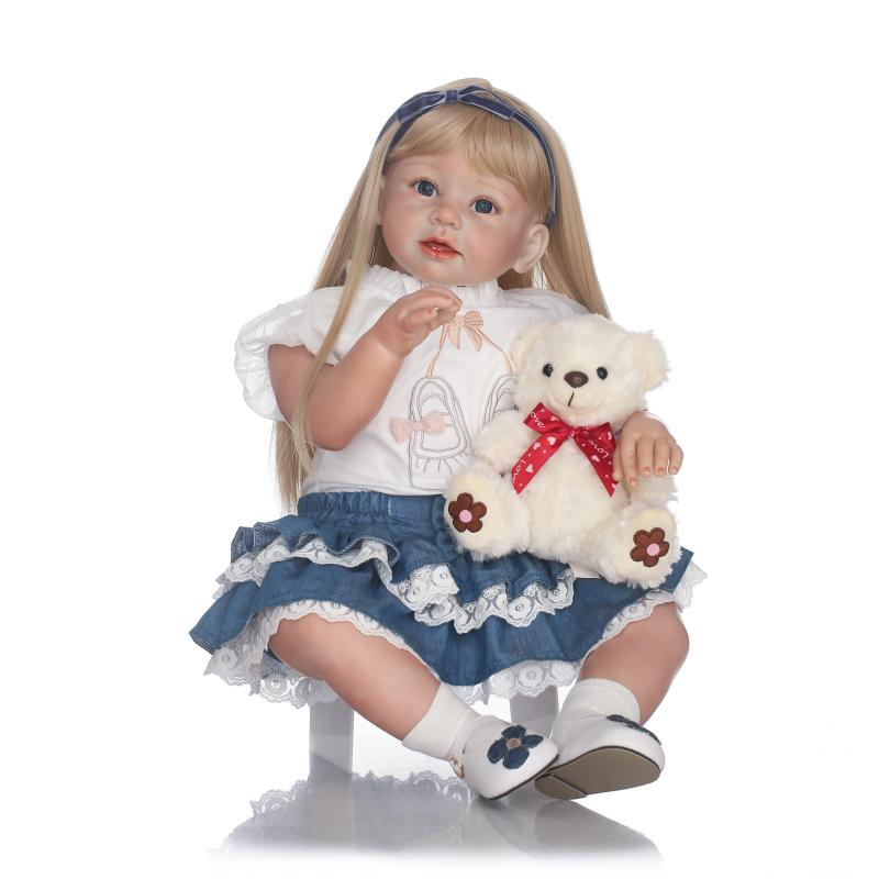 28 inch Realistic Toddler Reborn Girl Dolls with Blonde Long Hair 70cm High Quality Princess Girl Toy Doll Dress Gifts for Sale 28 inch big toddler reborn arianna rooted sandy blonde hair little girl lovely princess baby doll present girls birthday gifts