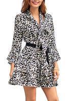 Yoyoma Womens Dresses Long Sleeve Elegant Floral Leopard Printed Swing A Line Mini Dress White