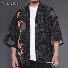 2019 men casual hiphop male japan style cardigan embroidery kimono coat plus linen overcoat