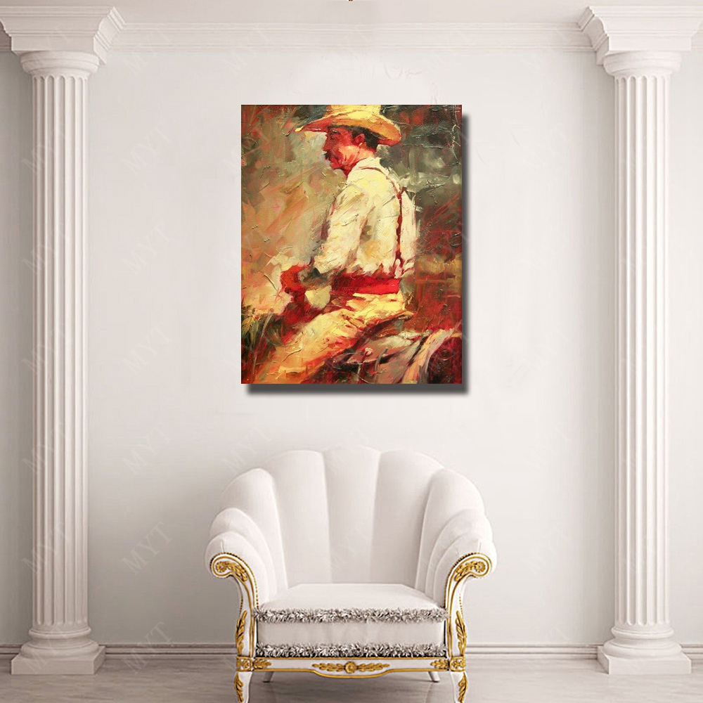 Cow boy riding horse painting hand made modern figure canvas wall art paint large size oil paintings cheap