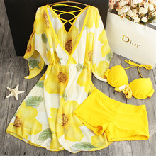 STAR MENG dress sexy beach swimwear small chest gather steel support three piece suit pants hot bikinis swimsuits