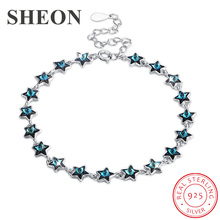 SHEON New Arrival Genuine 925 Sterling Silver Sweet Whisper of Star Blue Crystal  Cuff Bracelets Luxury Jewelry