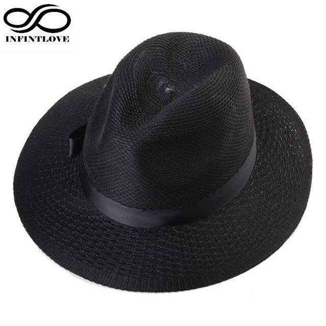 LUCKYLIANJI Moda Uomo Donna di Paglia Piatto Jazz Tesa Larga Panama Beach  Gangster Trilby Hat Sun 78778a7b58b9